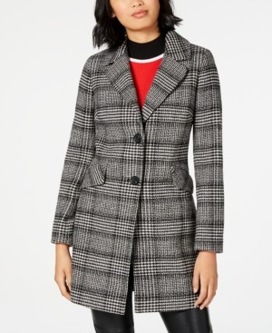 French Connection Single-Breasted Plaid Coat