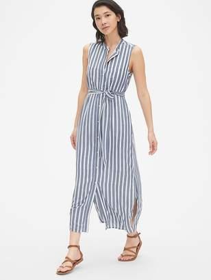 Gap Perfect Sleeveless Stripe Maxi Shirt Dress