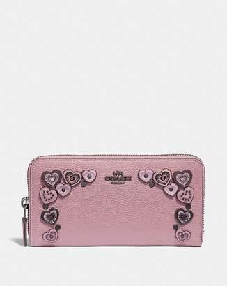 Coach Accordion Zip Wallet With Hearts