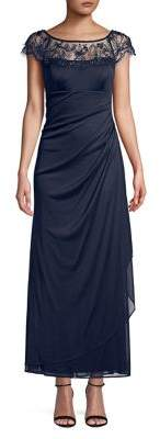 Xscape Evenings Petite Lace Side Ruched Gown