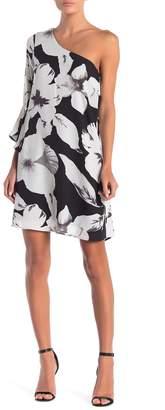 Cynthia Steffe CeCe by Amelia One-Shoulder Angel Sleeve Floral Print Dress