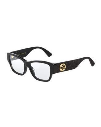 Gucci Square Glittery Acetate Optical Glasses