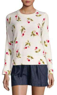 Joie Varden Sweet Cherry Print Cashmere Sweater
