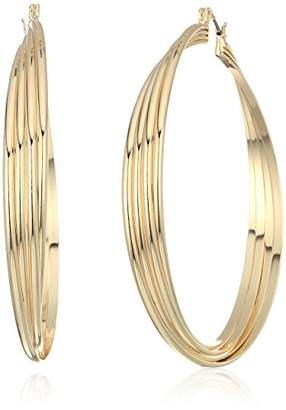 Kenneth Cole New York Womens Extra Large Trinity Rings Silver Twisted Hoop Earrings
