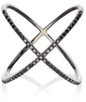 Ef Collection 14K Rhodium & Black Diamonds X Ring