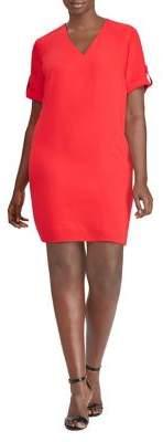 Lauren Ralph Lauren Plus Roll-Tab-Sleeve Shift Dress