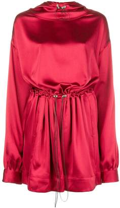Margaux Rouge hooded drawstring dress