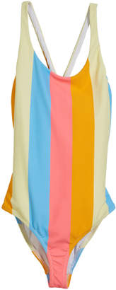 Milly Minis Neon Stripe Scoop One-Piece Swimsuit, Size 4-6
