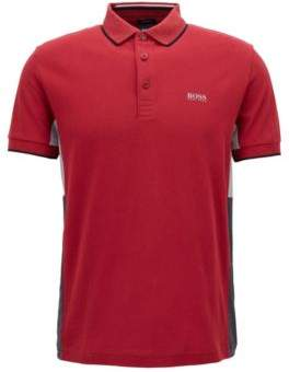 BOSS Hugo Regular-fit polo shirt in suede-effect cotton jersey S Dark Red