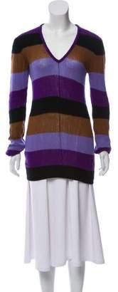 Prada Striped V-Neck Sweater