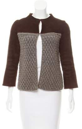 Agnona Leather Trimmed Cashmere Jacket