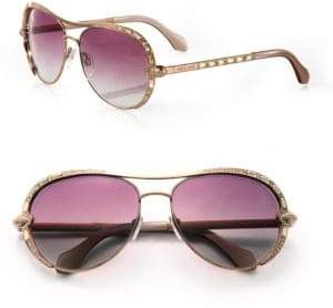 Roberto Cavalli 59MM Swarovski Crystal& Metal Aviator Sunglasses