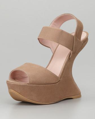 Stuart Weitzman Bandana Suede Elastic-Strap Wedge Sandal