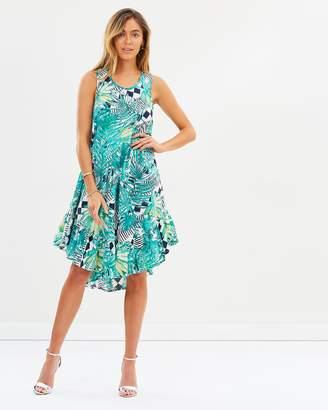 Palm Canyon Ruffle Hem Dress