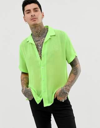 197ac8a2 Asos Design DESIGN oversized revere collar shirt in neon green