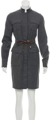 Les Copains Leather-Trimmed Wool Dress