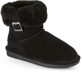 BearPaw Black Abby Sheepskin Trim Boots