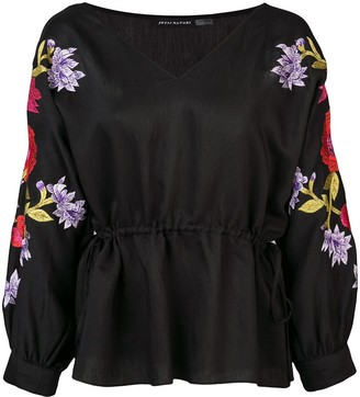Josie Natori floral embroidered blouse