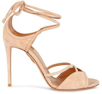 Aquazzura Nathalie Blush Suede Sandals