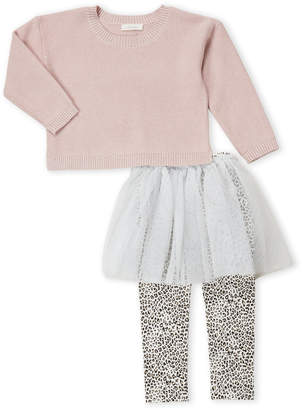 Miniclasix (Toddler Girls) Two-Piece Metallic Sweater & Tutu Cheetah Print Leggings Set