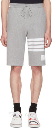 Thom Browne Grey Classic Four Bar Lounge Shorts $550 thestylecure.com