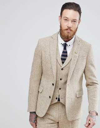 Asos DESIGN Slim Suit Jacket in 100% Wool Harris Tweed In Taupe Herringbone