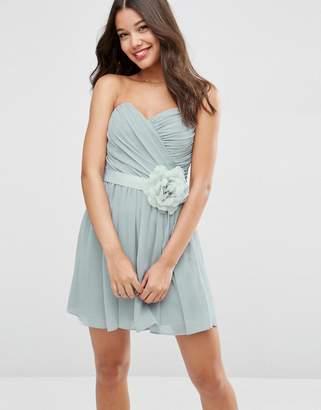 Asos (エイソス) - ASOS DESIGN Bridesmaid chiffon bandeau mini dress with detachable corsage