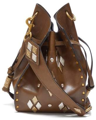Isabel Marant Radja Embellished Leather Bucket Bag - Womens - Khaki