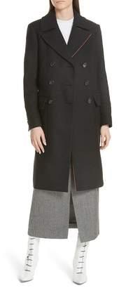 Tibi Double Breasted Felted Wool Blend Midi Coat