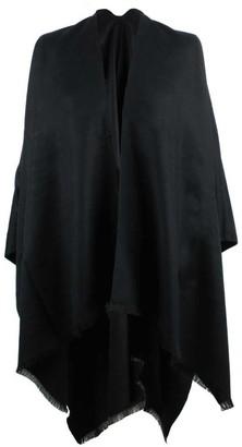 Daniel Luxe Black Wool & Silk Mix Cape