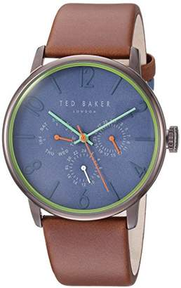 Ted Baker Men's 'James' Quartz Stainless Steel and Leather Casual Watch