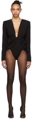 Saint Laurent Black Draped Bodysuit
