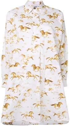 Ganni horse pattern shirt dress