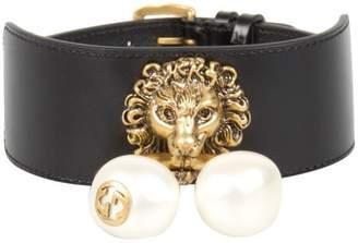 Gucci Lion Head Leather Bracelet