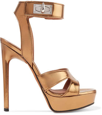 Givenchy Shark Lock Cutout Metallic Leather Platform Sandals - Gold