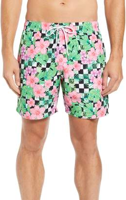Trunks Boardies Checkerboard Floral Print Swim