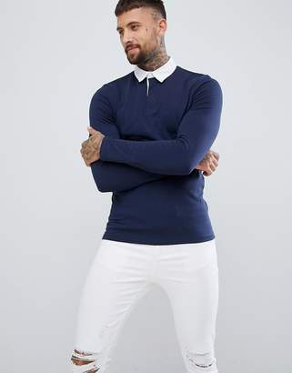 Asos Muscle Long Sleeve Rugby Polo Shirt In Navy