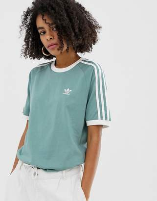 adidas adicolor three stripe t-shirt in green