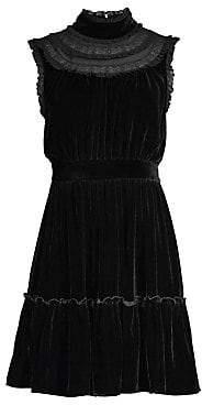 Kate Spade Women's Wild Ones Velvet Lace Trim Dress