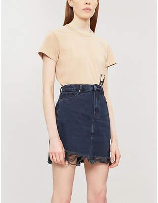 Good American Good Waist frayed-hem high-rise denim skirt