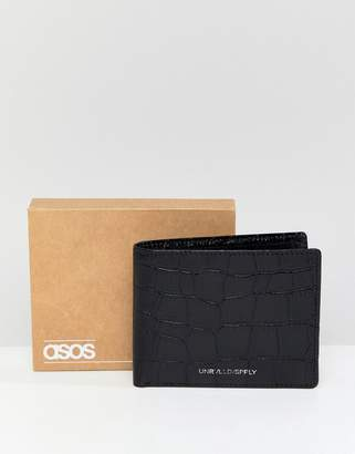 Asos DESIGN Leather Bifold Wallet In Black With Croc Emboss And Foil Logo