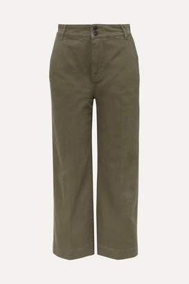 Frame Cropped Cotton-blend Wide-leg Pants - Green