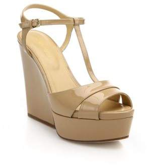 Sergio Rossi Edwige Patent Leather T-Strap Wedge Sandals