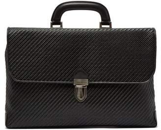 Ermenegildo Zegna Pelle Tessuta Woven Leather Briefcase - Mens - Black