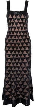 Oscar de la Renta Fluted Bead-Embellished Tulle Midi Dress