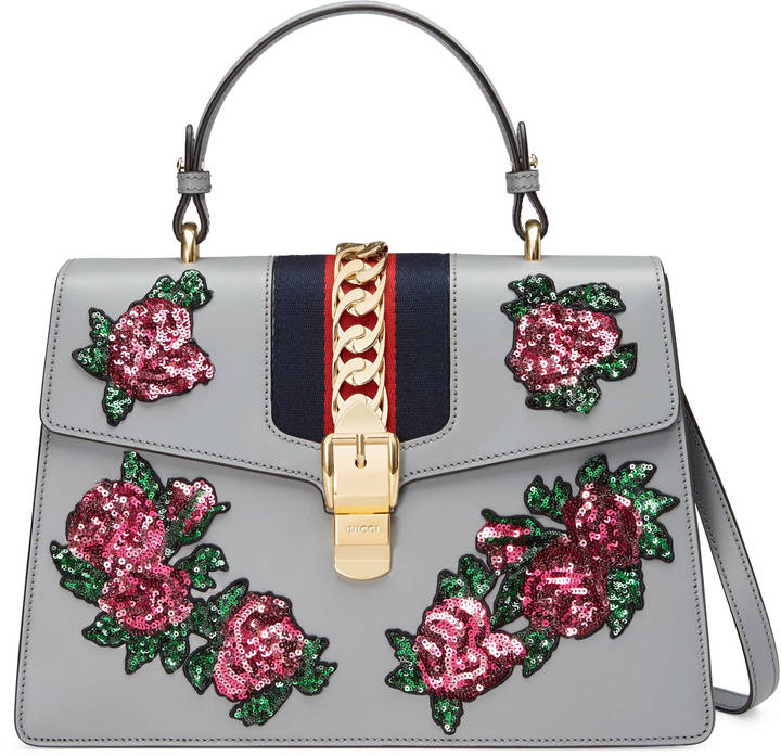 Sylvie embroidered leather top handle bag