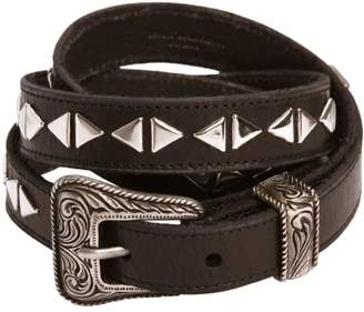 Saint Laurent 20mm Western Studded Leather Belt