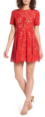 Women's Lush Pleated Lace Skater Dress $55 thestylecure.com