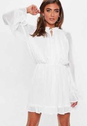 Missguided White Balloon Sleeve Skater Dress