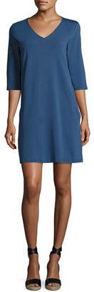Eileen Fisher 3/4-Sleeve V-Neck Jersey Shift Dress $138 thestylecure.com
